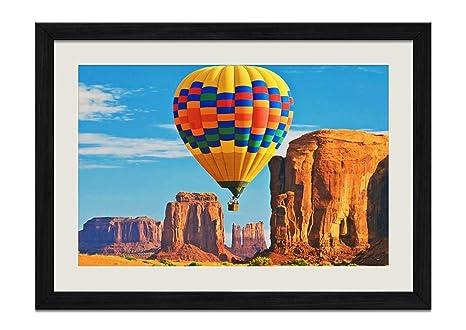 Amazoncom Curong Desert Hot Air Balloon Wood Frame Poster Home