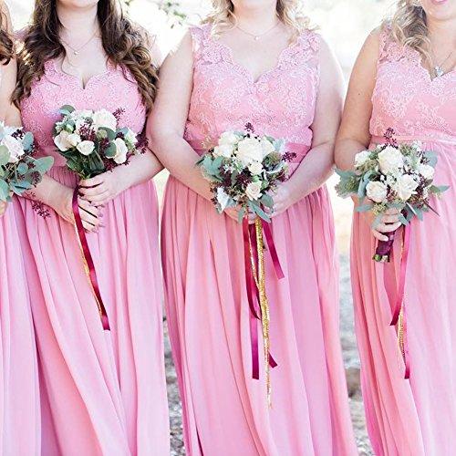 Elfenbein Chiffon Lang Rückenfrei Hochzeitskleider Ballkleider Abendkleider Brautjungfernkleider Damen XAqnx04PHn