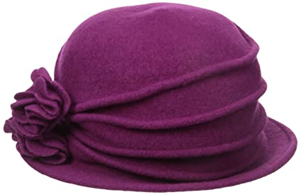 335c38cb Scala Women's Knit Wool Cloche Hat with Double Flower, Berry, One Size