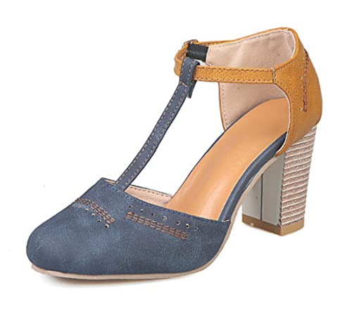 1deafa5287d459 Minetom Donna Sandali Estive con Cinturino A T Chiuse Davanti Eleganti Mary  Jane Tacco Alto Scarpe Casuale Comode Mode Party: Amazon.it: Scarpe e borse