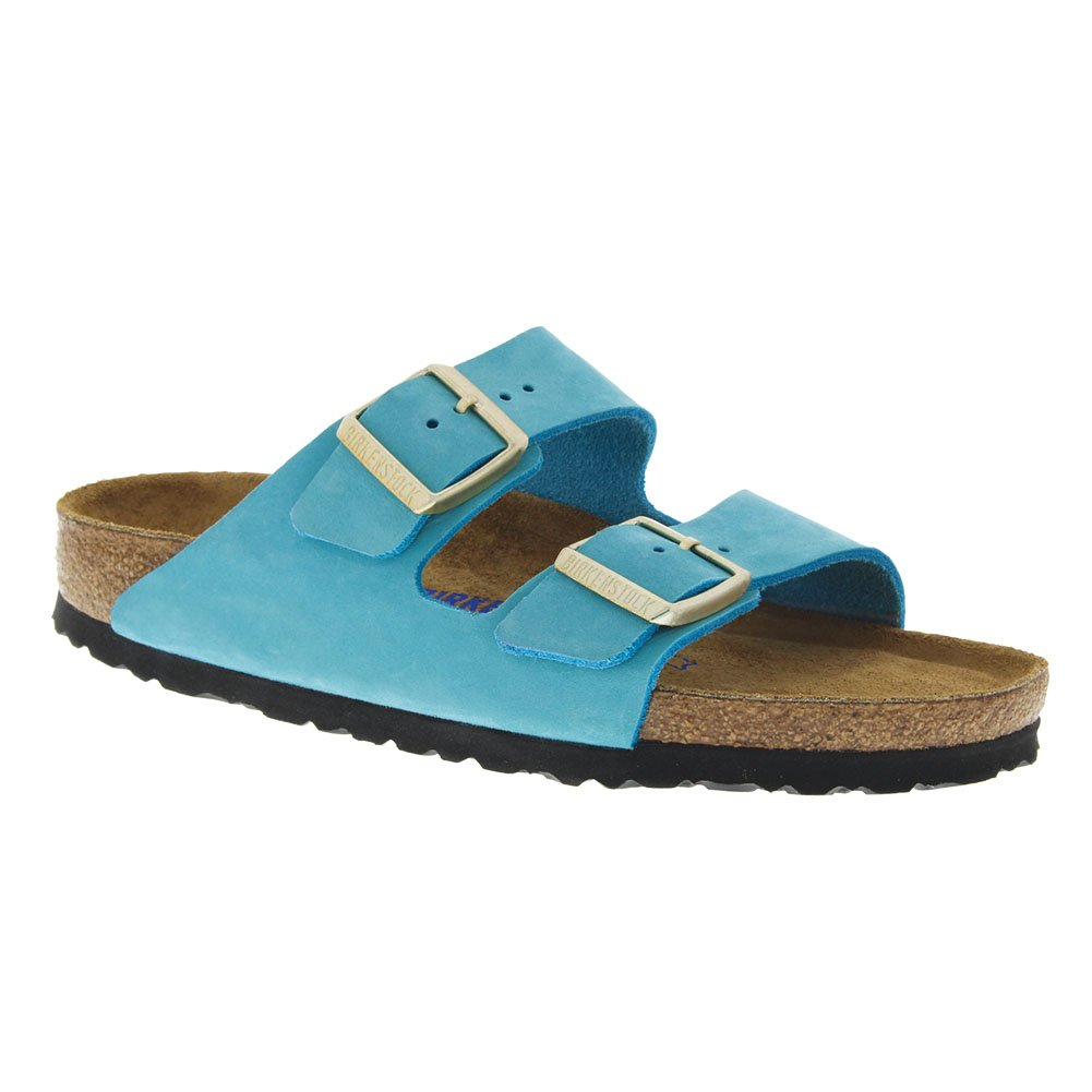Birkenstock Arizona Soft Footbed Leather Sandal B074S5LGLY 39 N EU|Sfb Turquoise Nubuck