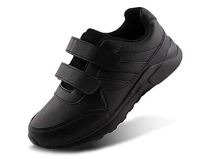 3f117300 Jabasic Kids Black/White Hook and Loop School Uniform Sneaker