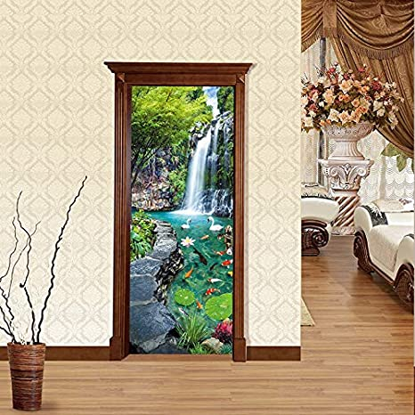 3D Waterfall View Self-adhesive Door Decal Sticker Bedroom Decor Mural Removable