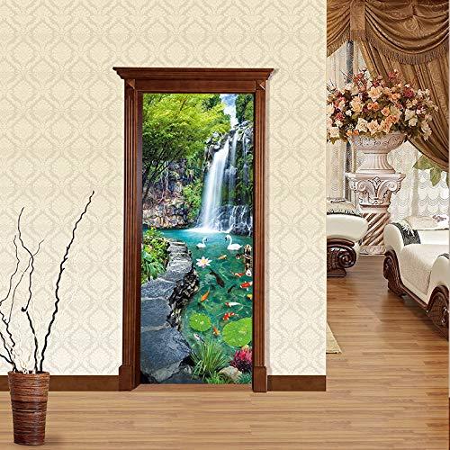 FLFK 3D Garden Landscape Door Sticker Mural Photo Self Adhesive Wall Sticker Decal 30.3x78.7