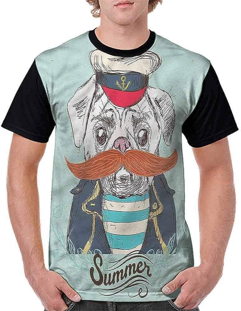 BlountDecor Loose T Shirt,Captain Dog with Hat Jacket Fashion Personality Customization