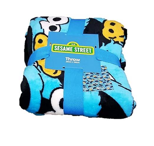Primark Home 123 - Manta de Forro Polar Super suave, diseño Monstruo de las Galletas - Barrio Sesamo, Sesame Street