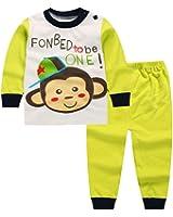 Kid 2-Piece Monkey Long Sleeve Cotton Pajama Set