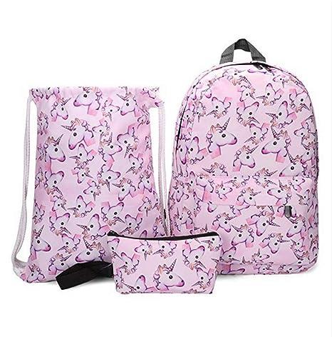 Mochila Infantil Kit de 3 pcs Mochila + Bolsa a Cordons + Estuche diseño Unicornio Gato