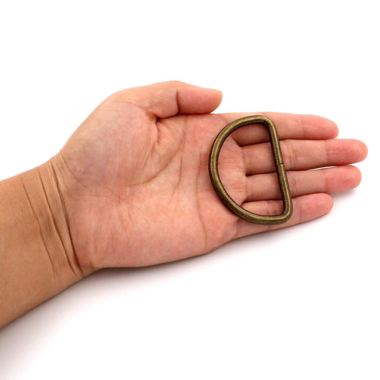 BIKICOCO Fibbia ad anello in metallo non saldato 5,1 x 3,2 cm confezione da 10 dimensioni interne in bronzo