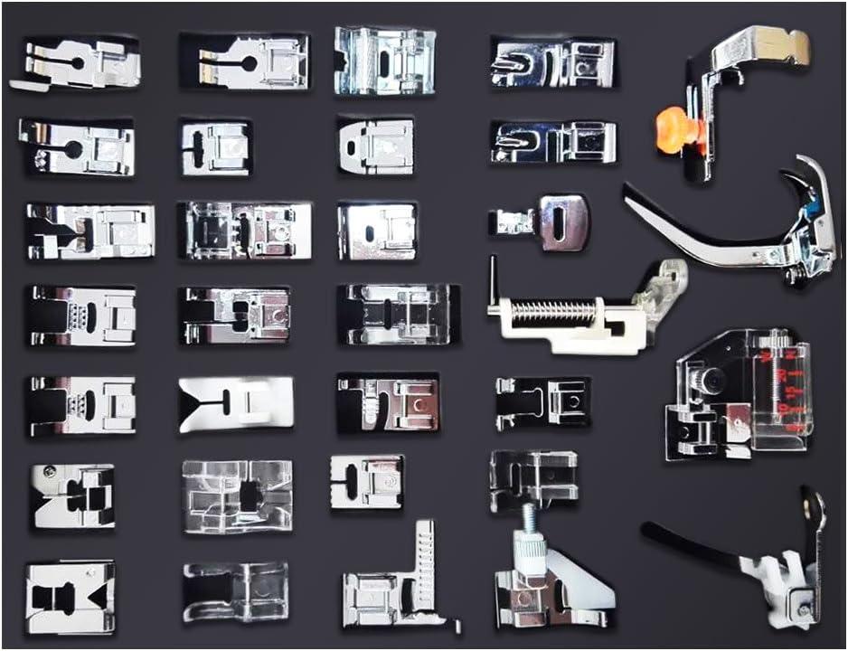 NUZAMAS [UPDATED] Kit de 32 Piezas Multifuncional Prensatelas Accesorios para Máquina de Coser Presser Foot Feet Kit ...