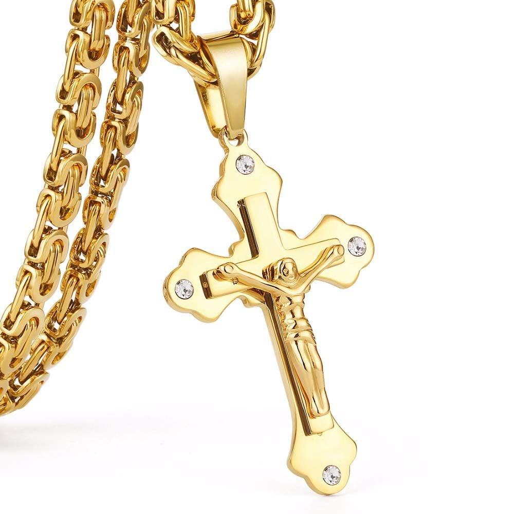 Davitu Gold Color Stainless Steel Chain Crystal Jesus Cross Pendant Necklaces Link Chains Men Necklace Chain Long gouden ketting MN69 Metal Color: Silver Color, Length: 70cm About 28inch