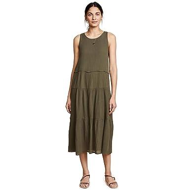 96989bd5cf8 Amazon.com  Three Dots Womens Cotton Gauze Tiered Dress Green Medium ...