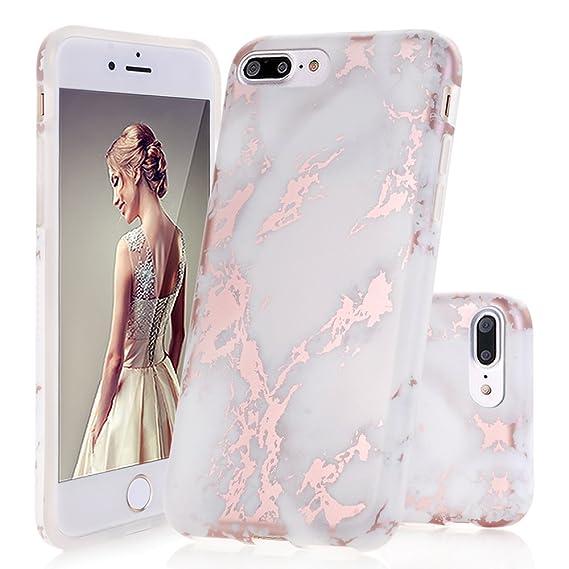iphone 8 plus case rose gold marble