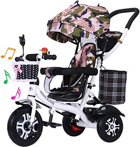 New Kids Tricycle Trike, Trolley de Bicicleta para niños 1-3-5 años de Edad Música giratoria Bicicleta Ligera 2-6 Coche de niña (Color : F): Amazon.es: Deportes y aire libre