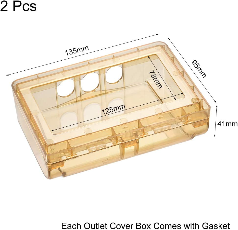 uxcell Weatherproof Outlet Cover In-Use Plug Receptacle Protector Indoor Uses 135x95x41mm Clear