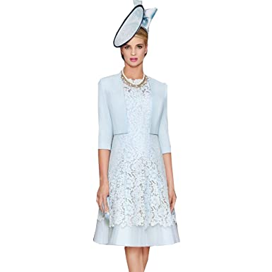 d2bf3eb9fc21b dressvip Blue Round Neck Knee Length Open Back A-Line Lace Mother of The  Bride Dress with Jacket Coat  Amazon.co.uk  Clothing