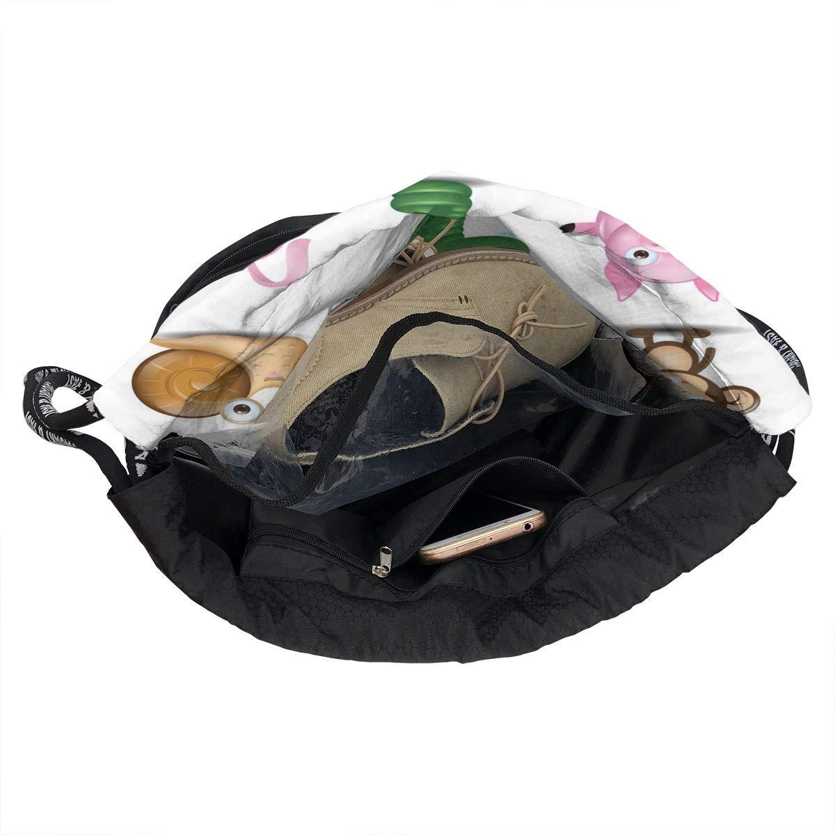 Unisex Bundle Backpack Set Of Cute Animals Sitting In Cardboard Boxes Travel Durable Large Space Vintage Waterproof Drawstring Bag