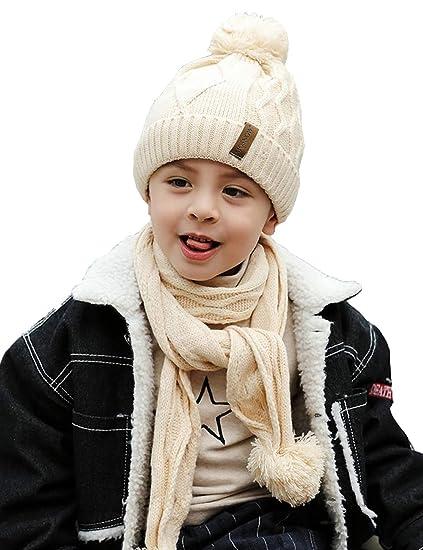 61c2f7be96f ANJUREN Hat Beanie Scarf Set 2pcs Unisex Baby Child Kids Toddler Boys Girls  Winter Warm Cotton
