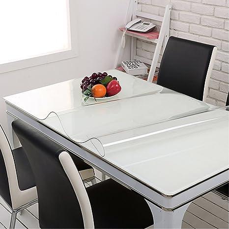 Yazi mantel impermeable PVC transparente almohadillas de mesa de cristal mesa para salón cocina cuadrado 80 x 80cmx1 mm