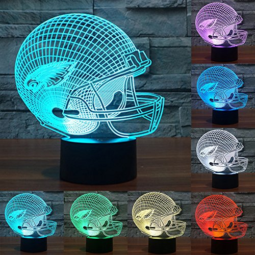 Football Cap Team Logo 3D Lamp Table NightLight 7 Color Change Football LED Desk Light Touch Multicolored USB Power As Home Decoration Lights Tractor for Boys Kids (Touch) (Philadelphia Eagles)