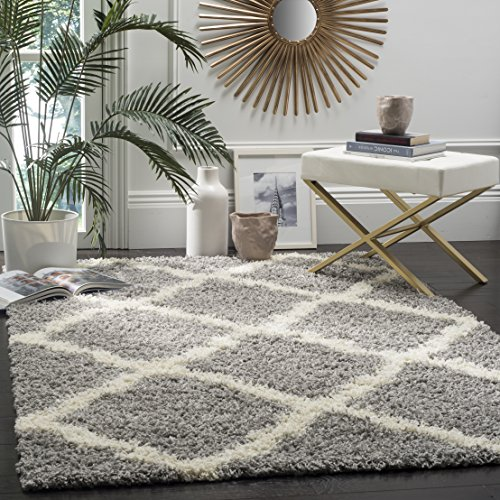 Safavieh Dallas Shag Collection Grey and Ivory Area Rug (8' x 10') (Area Rugs X 10 12)