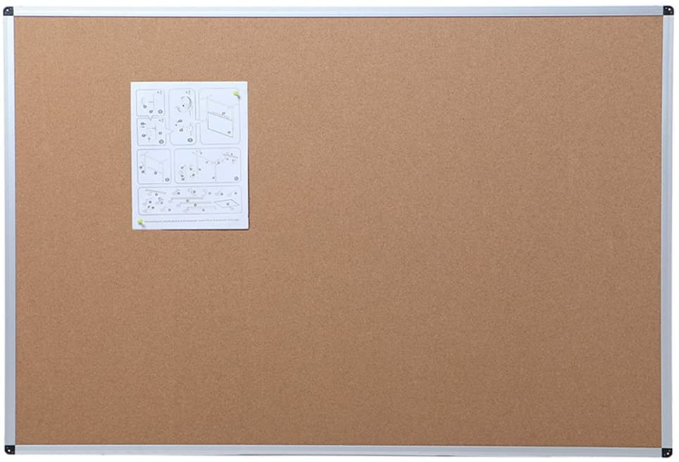 VIZ-PRO Tablero de corcho con marco de aluminio, 110 x 75 cm
