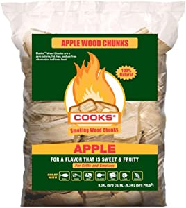 Cooks BBQ Products Apple Wood Chunks- Kiln Dried for Smokers, Charcoal and Gas BBQ Grills, 570 Cubic Inches/8 LBS, Made in The USA