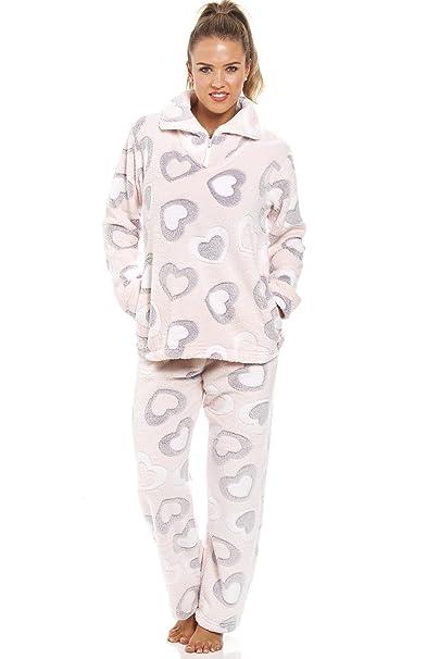 Camille - Conjunto de pijama de forro polar suave - Estampado de corazones grises y blancos