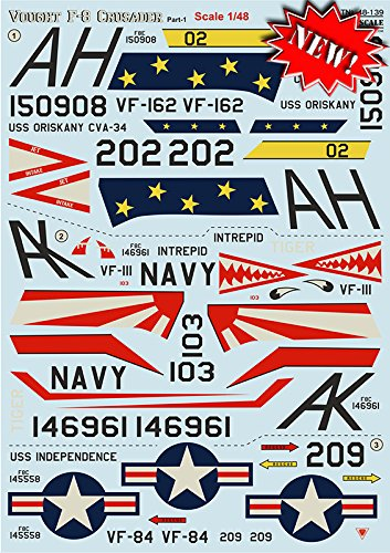 WET DECALS FOR AIRPLANES DECAL FOR VOUGHT F-8 CRUSADER PART 1 THE COMPLETE SET 2, 1/48 PRINT SCALE 48-139 DECALS DETAILS FOR AIRCRAFT