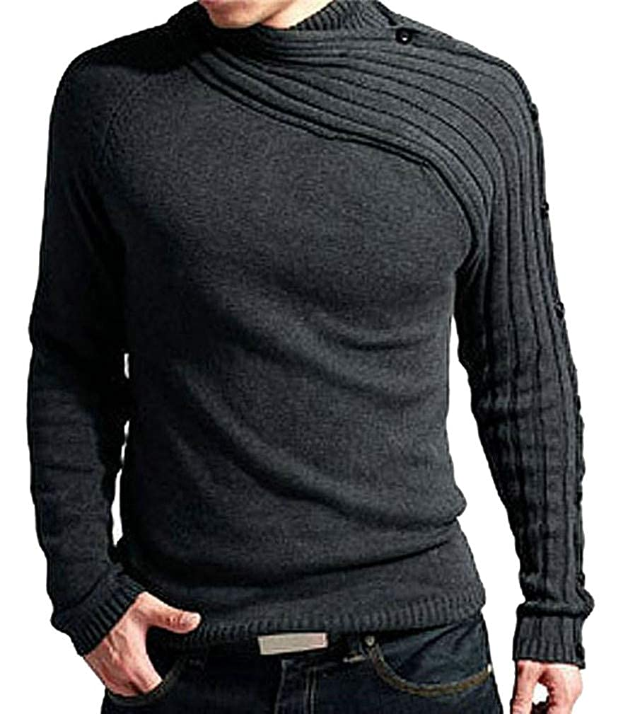 Cromoncent Mens Fashion Shawl Collar Irregular Striped Knitted Pullover Jumper Sweaters