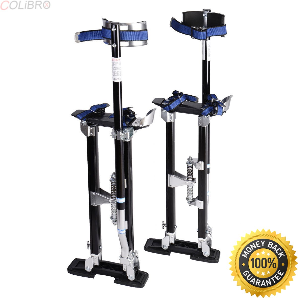 COLIBROX--18-30 Inch Drywall Stilts Aluminum Tool Painters Walking Taping Finishing Black. working on stilts. plasterers stilts health and safety. osha rules on stilts. harbor freight drywall stilts.
