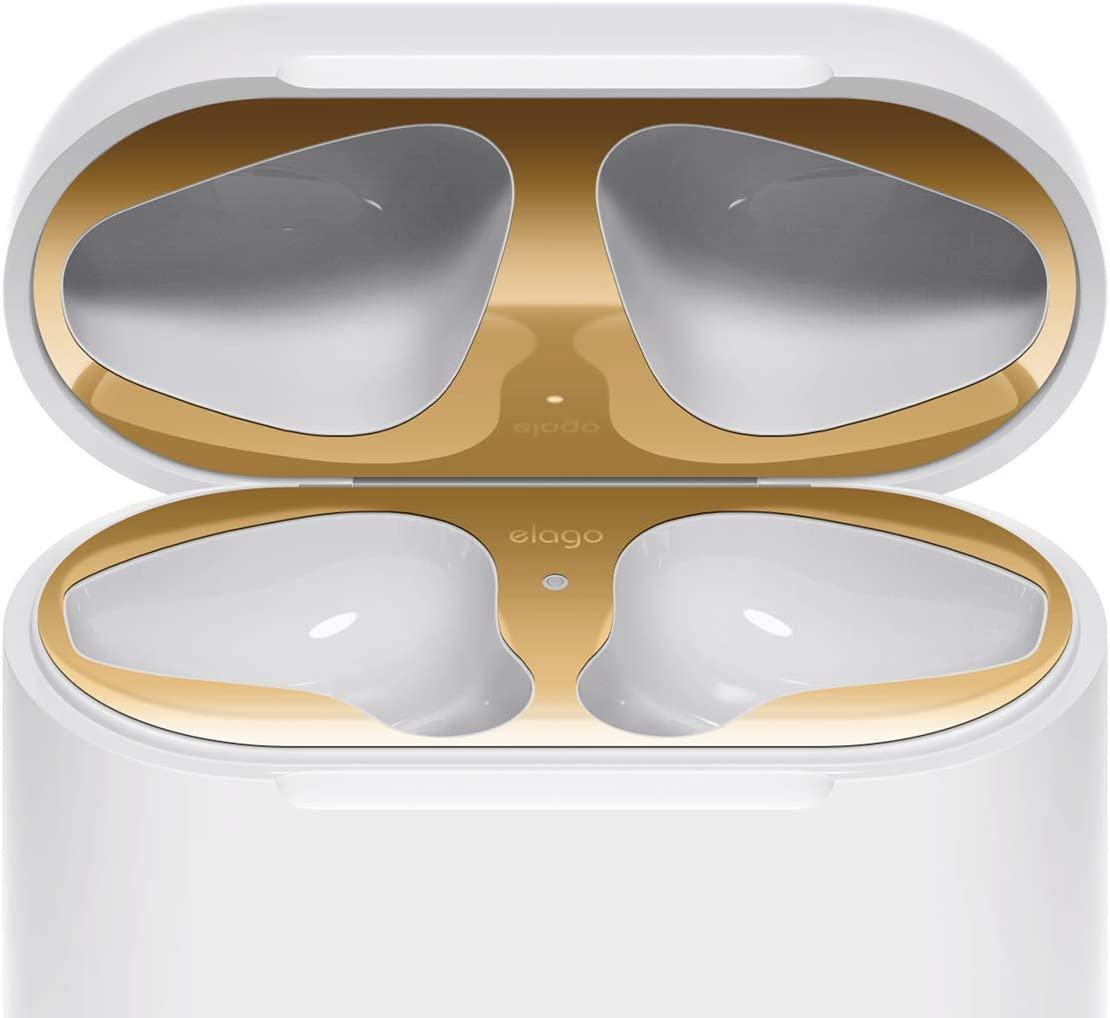 elago Upgraded AirPods Dust Guard (Gold, 1 Set) – Dust-Proof Film, Luxurious Looking, Must Watch Easy Installation Video, Chromium Plating, Protect AirPods from Metal Shavings [US Patent Registered]