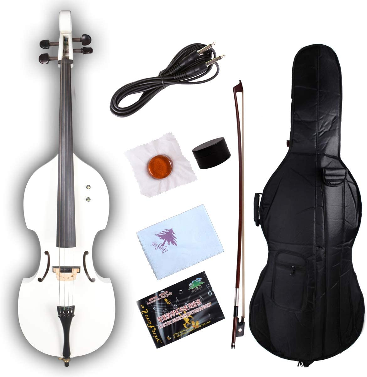 Rosin Aux Cable Yinfente Electric Cello 4//4 Full Size Solid wood Violoncello Ebony Fittings with Bag black-7 Bow