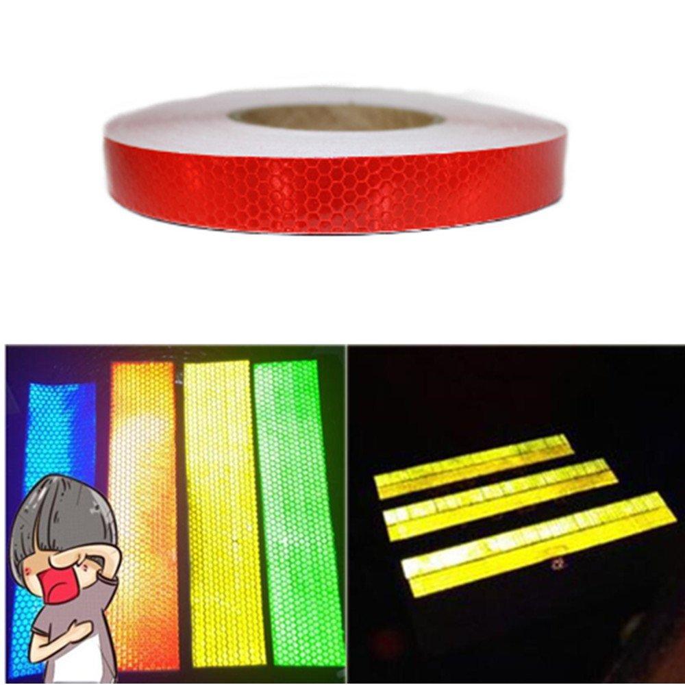 tuqiang® 25mm x 2, 5m cinta reflectante autoadhesivo seguridad advertencia Conspicuity noche reflector tira cinta película adhesivo
