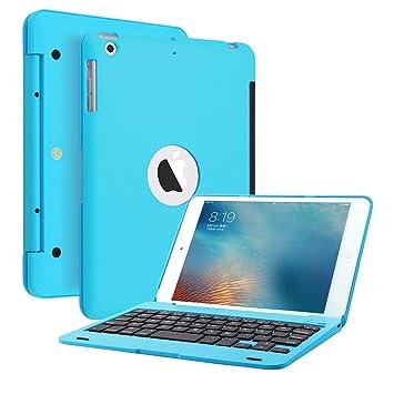 IPad mini 3 2 funda para teclado, funda portátil KVAGO Estuche portátil ultra delgado portátil con teclado Bluetooth para 7,9 pulgadas Apple iPad mini ...