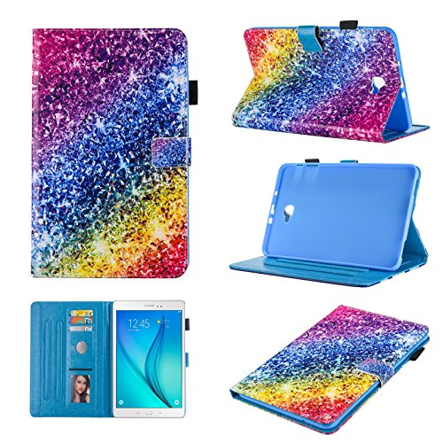 StarCity Case for Galaxy Tab A 10.1 (2016) (SM-T580/T585), PU Leather Folio Flip Stand Cover Smart Case [Auto Wake/Sleep] For Samsung Galaxy Tab A SM-T580NZKAXAR 10.1-Inch Tablet (Rainbow)