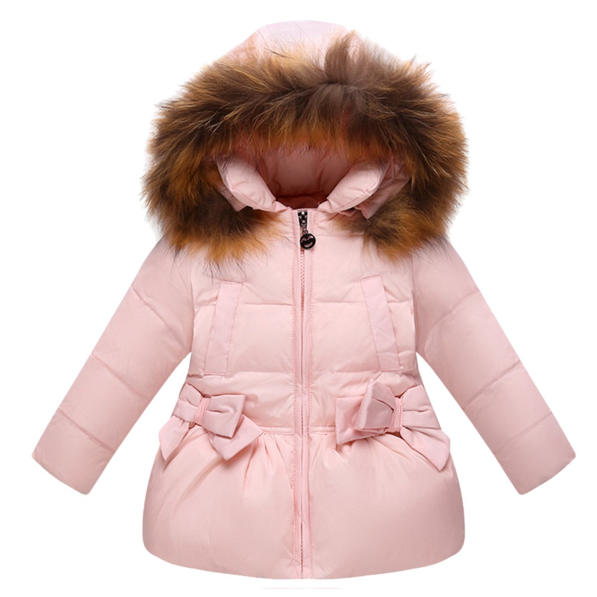 Girls Winter Puffer Down Jacket Coat Thicken Padded Plush Fur Trim Hooded Parka with