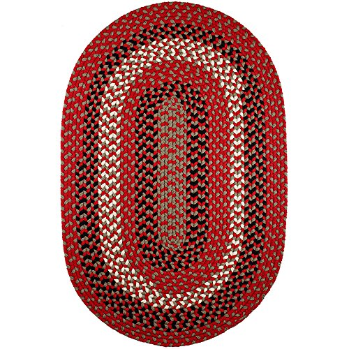 (Super Area Rugs Homespun Braided Rug Indoor Outdoor Rug Textured Durable Red Patio Deck Carpet, 2' X 3' Oval)
