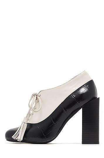 d5948f5e162 Jeffrey Campbell Autumn Black Croc Ivory Box Block Heel Tassle Lace Up  Heels (6)