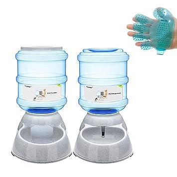 Yizish - Juego de dispensador automático de comedero para mascotas + cepillo de baño para mascotas