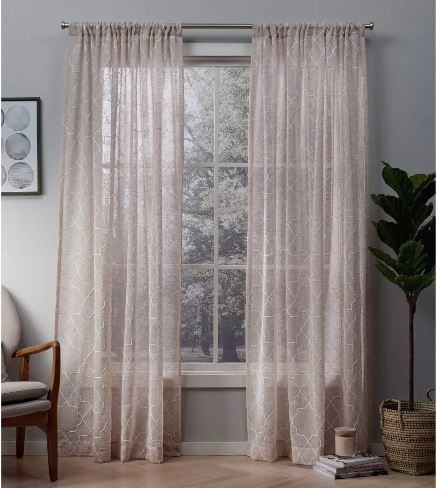 Exclusive Home Curtains Cali Embroidered Sheer Window Curtain Panel Pair with Rod Pocket, 50x84, Blush, 2 Piece