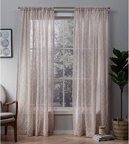 Exclusive Home Curtains Cali Embroidered Sheer Window Curtain Panel Pair with Rod Pocket, 50×96, Blush, 2 Piece