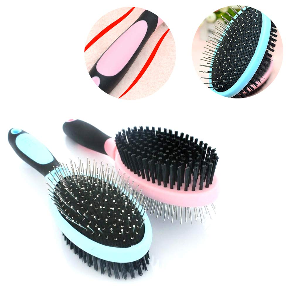 Double-Sided Pet Grooming Brush and Deshedding Tool for Dog and Cat Fur Detangling Pins & Coat Smoothing Slicker Bristles(2Pcs)