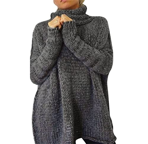Tongshi Mujeres sueltas de manga larga de invierno Oversize suéter Jumper camisa Tops