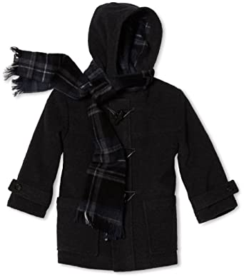 3fd4a67f39 Rothschild Little Boys Toggle Wool Look Hooded Winter Coat with Matching  Scarf