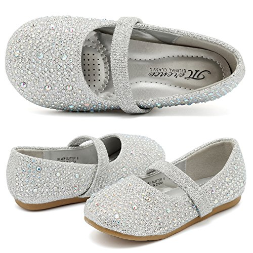 CIOR Girls Ballet Flats Shoes Ballerina Bowknot Jane Mary Wedding for Party Toddlers Elastic Princess Dress from Merence,VGZA2,Shine-Silver Glitter,26 -