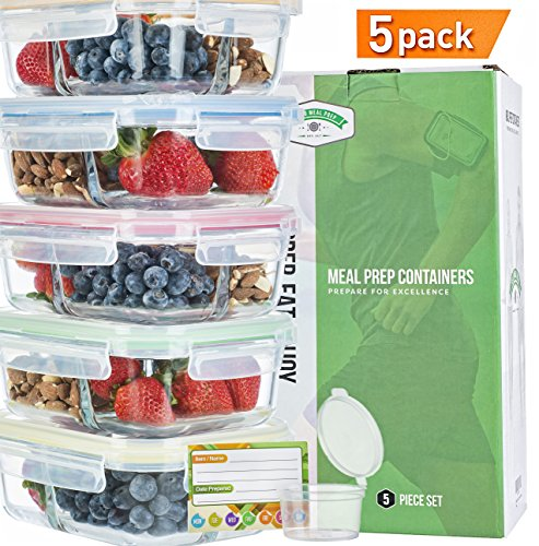 - Glass Meal Prep Containers 3 Compartment SUPER BUNDLE (5PC set WITH SAUCE CUPS & LABELS) Lunch Containers/Glass Food Storage Containers. Microwave AND OVEN SAFE. Bento Box Lunch Glass Container.
