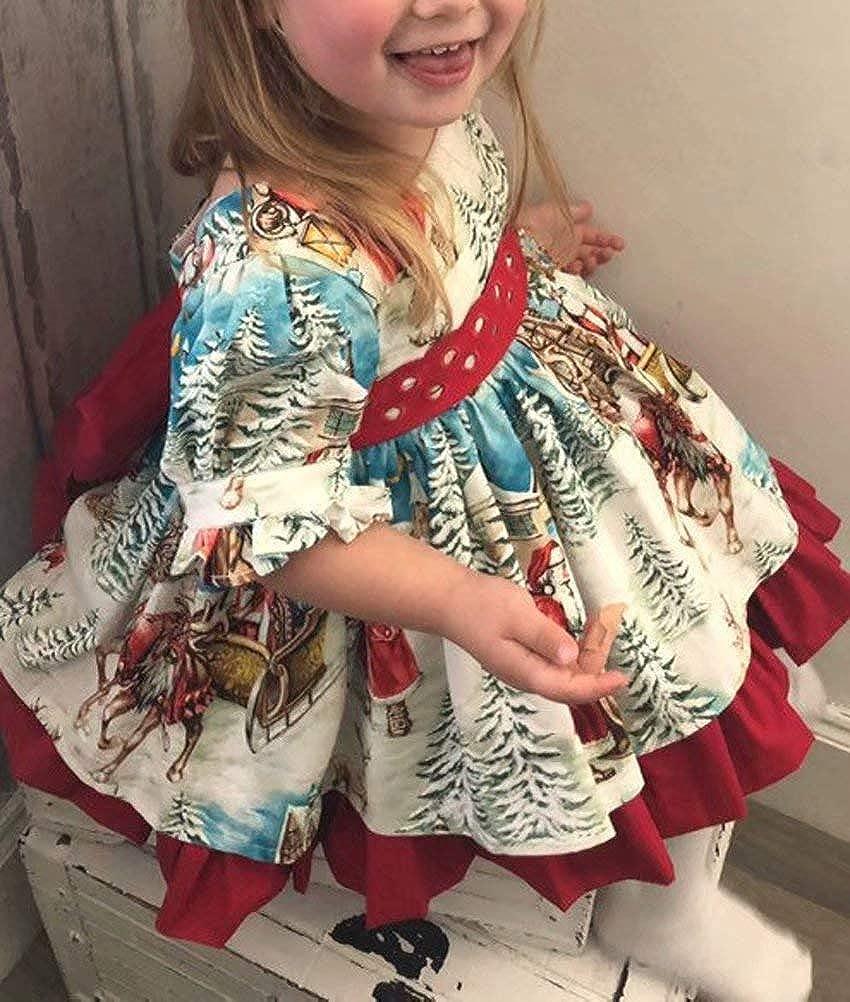 Frecoccialo Abito Stampato Natale da Principessa Abito Manica Corta Bambina Decorato con Una Gonna a Pieghe