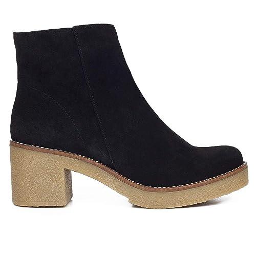 Chica Botines de Mujer con tacón Negros: Amazon.es: Zapatos y complementos
