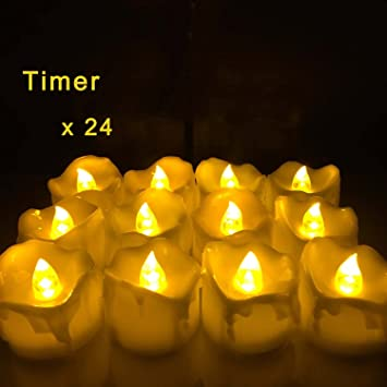 Amazon 24 Pcs Timing Function Led Candles Battery Operated